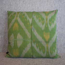 Double sided teal silk ikat + green cotton ikat fabrics cushion cover