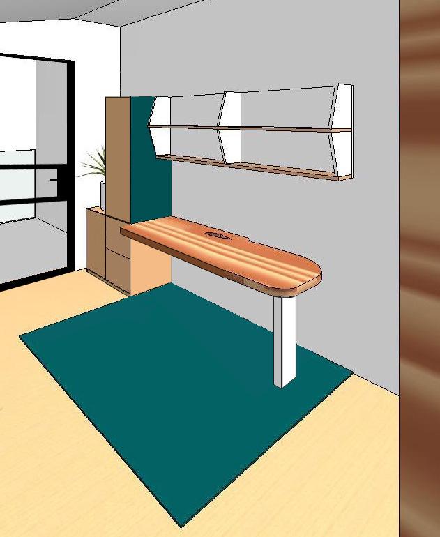 Design drawing for custom built home office desk and shelves
