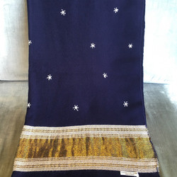 Navy Indian shawl with stars + gold