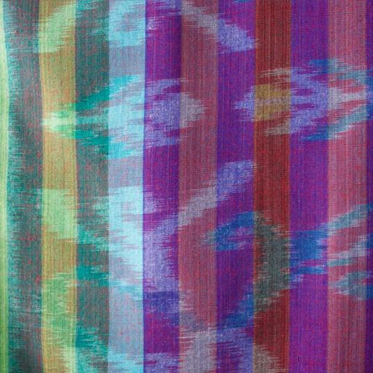 Balinese batik printed striped fabric (blues/green/purple)