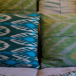Mixed cushions with covers made of silk ikat jackets, silk kimono + bespoke hand-dyed shibori on linen
