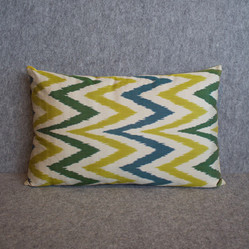 Single sided, yellow, cream, green + blue silk ikat cushion cover