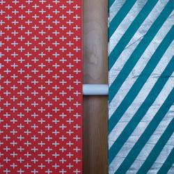 Red + white cross obi, teal + silver stripe obi