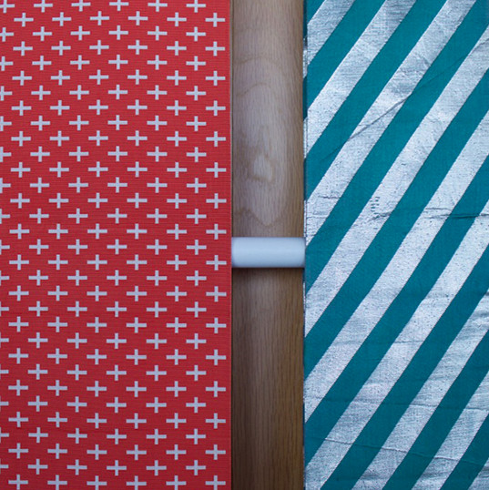 Red + white cross obi, teal + silver stripe obi