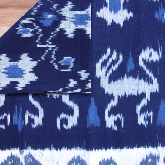 Indigo, cotton dragon throw