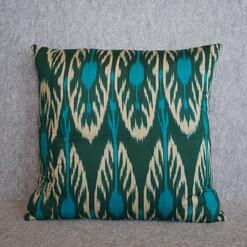 Double sided green kimono + green ikat jacket cushion cover