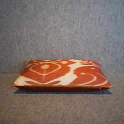 Single sided, terracotta + cream silk ikat cushion cover