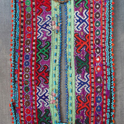 Afghan wedding pocket - greens + purple