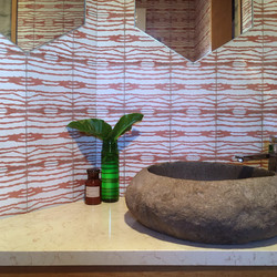 powder room tiles sink bench