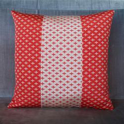 Red + white cross obi cushion cover