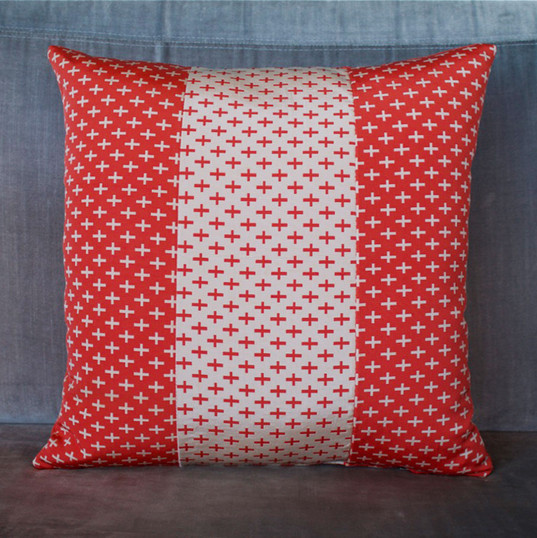 Red + white cross obi cushion cover