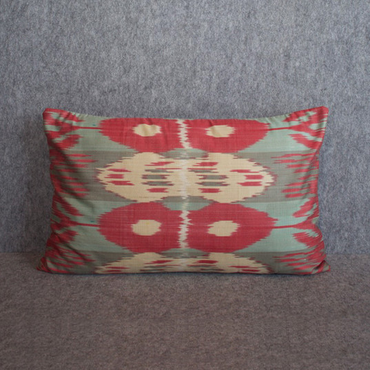 Light blue, cream + hot pink silk ikat double sided cushion cover