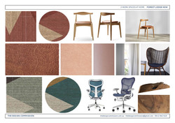 Client rugs, carpet, office chairs design presentation