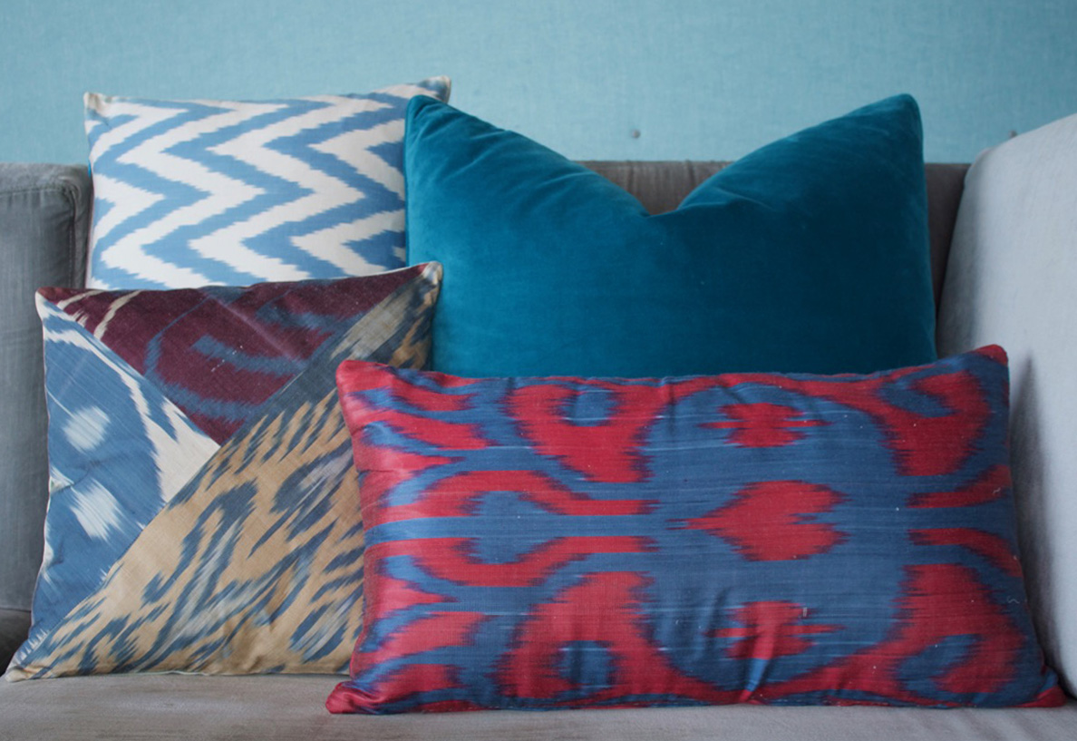 Velvet silk cushions still