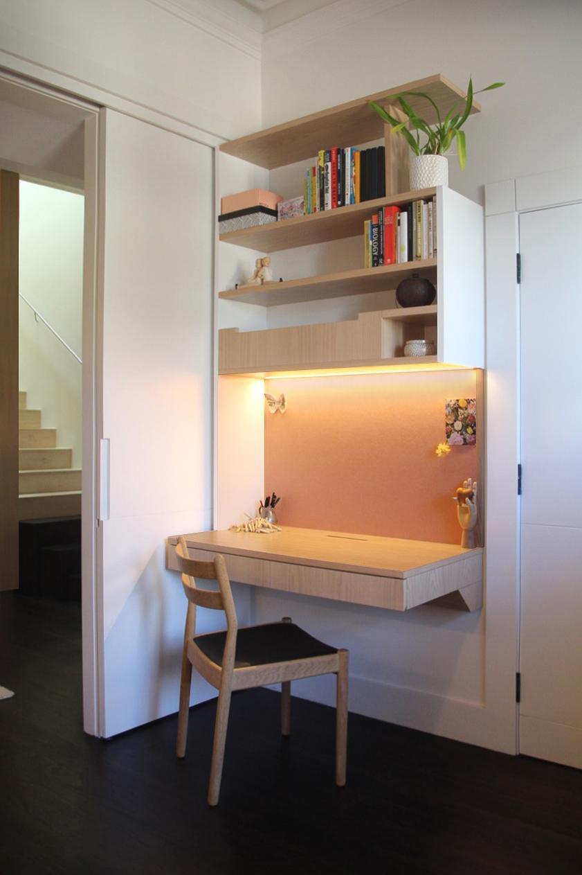 Custom designed home office desk and shelving