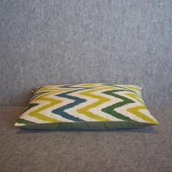 Single sided, yellow, cream, green + blue silk ikat cushion cover