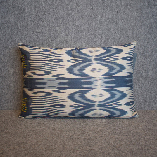 Double sided, blues, cream + yellow silk ikat cushion cover