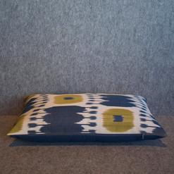 Single sided, blue, lime + cream cushion cover