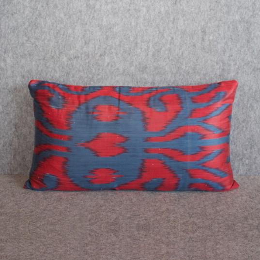 Red + blue silk ikat double side cushion cover