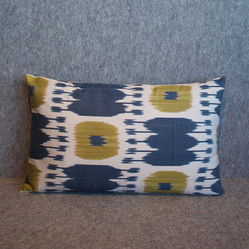 Single sided, blue, lime + cream cushion cover