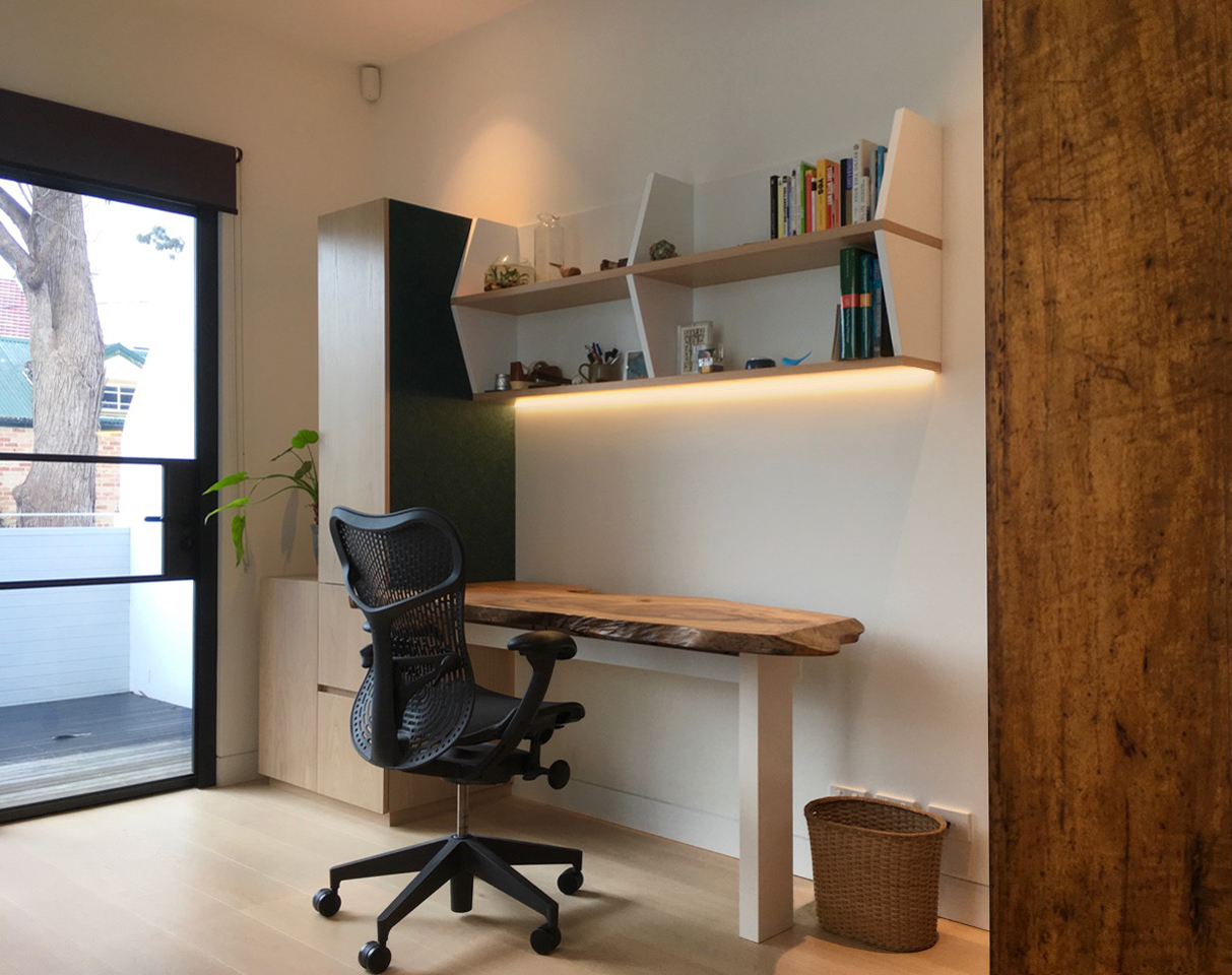 Custom designed home office desk and shelves