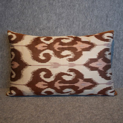 Single sided, cream, pink + brown silk ikat cushion cover
