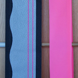 Silver wave, grey + pink obi, hot pink obi