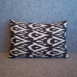 Single sided, black + cream silk ikat cushion cover