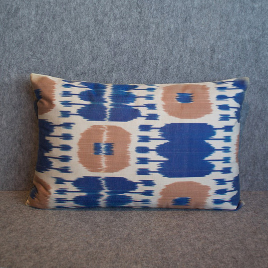 Single sided, blue, pink + cream cushion cover