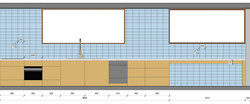 New kitchen design drawing showing cabinetry and tiling