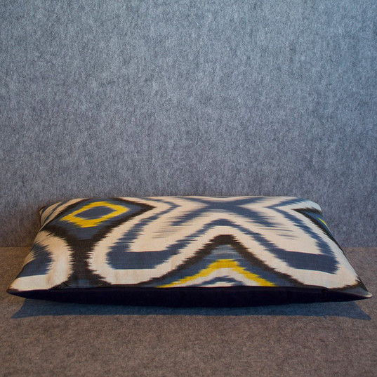 Single sided, blue, black + yellow cushion cover