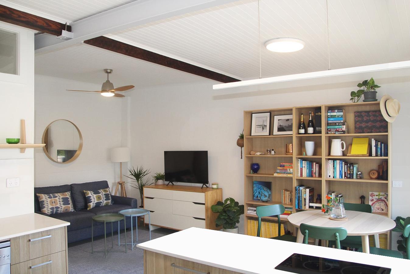 Malabar beachside studio kitchen and living areas