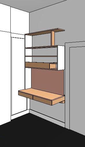 Design drawings for custom designed home office desk and shelves