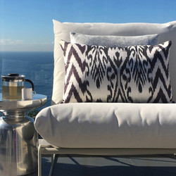 Double sided, black, silver + cream silk ikat cushion cover