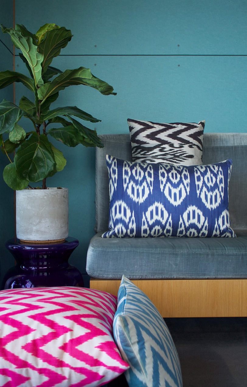 Ikat cushions group pink blue 1