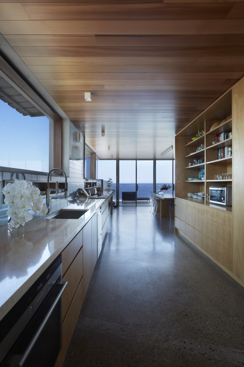 Kenzai kitchen with recycled bench top and open shelving