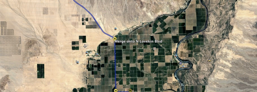 Route from Blythe to property