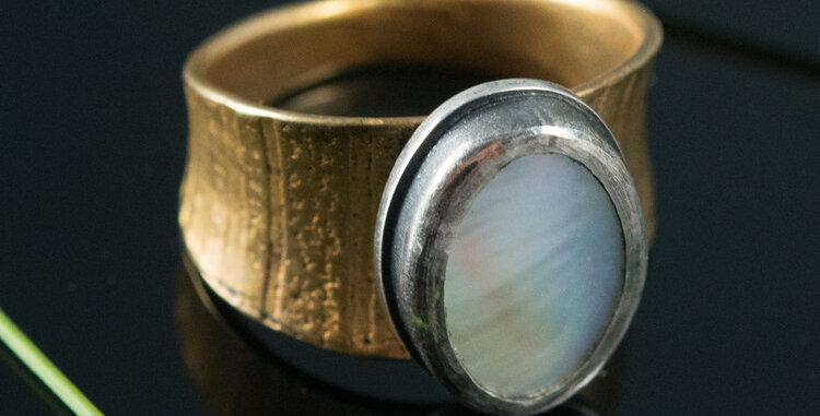 Mother of Pearl Ring on Brass Arc Band