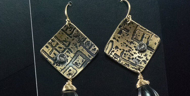 Etched Brass Square Shift with Lemon Topaz Drops