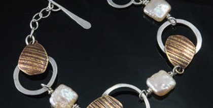 Triple Loop Square Pearl Toggle Bracelet