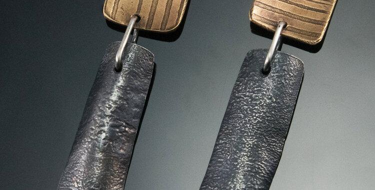 Gold Tip Rectangle Post Earrings