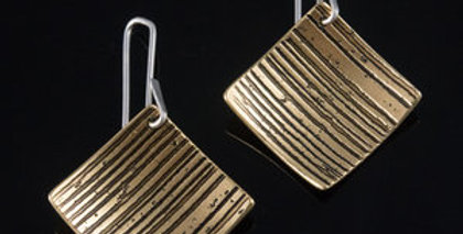 Medium Brass Horizon Stripe Tile Earrings