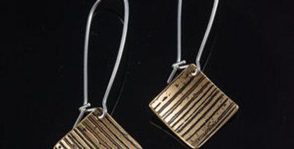 Brass Horizon Tile Drop Earrings