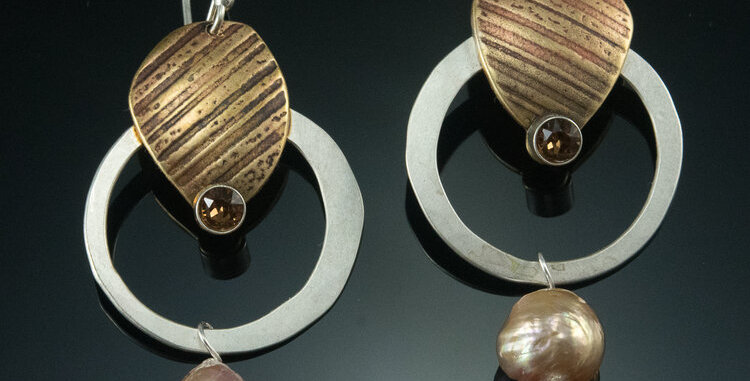 Brass Stone with Crystal on Small SilverHoops with Edison Pearl Drops