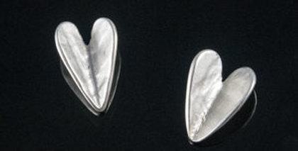 Silver Wing Heart Post Earrings