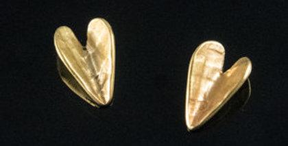 Bronze Wing Heart Post Earrings