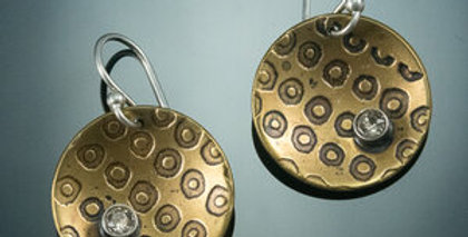 Dots Patterned Brass Dome Circle Earrings with Swarovski Crystals