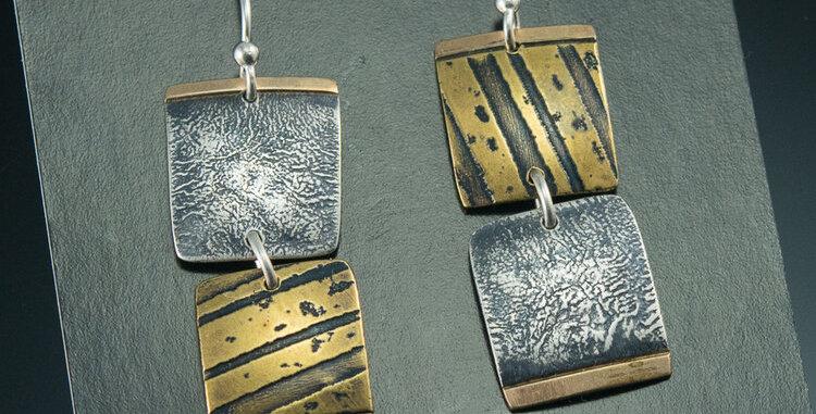 Tile Earrings in Silver, Brass & Gold