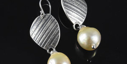 Silver Stone Dangle Earrings with Edison Pearls