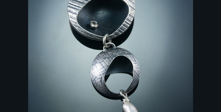 Silver Double Drop Cave Pendant with Baroque Pearl